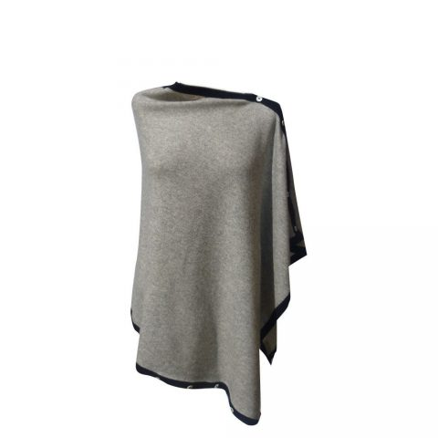 poncho-melange-silver-grey-with-navy-blue-edging