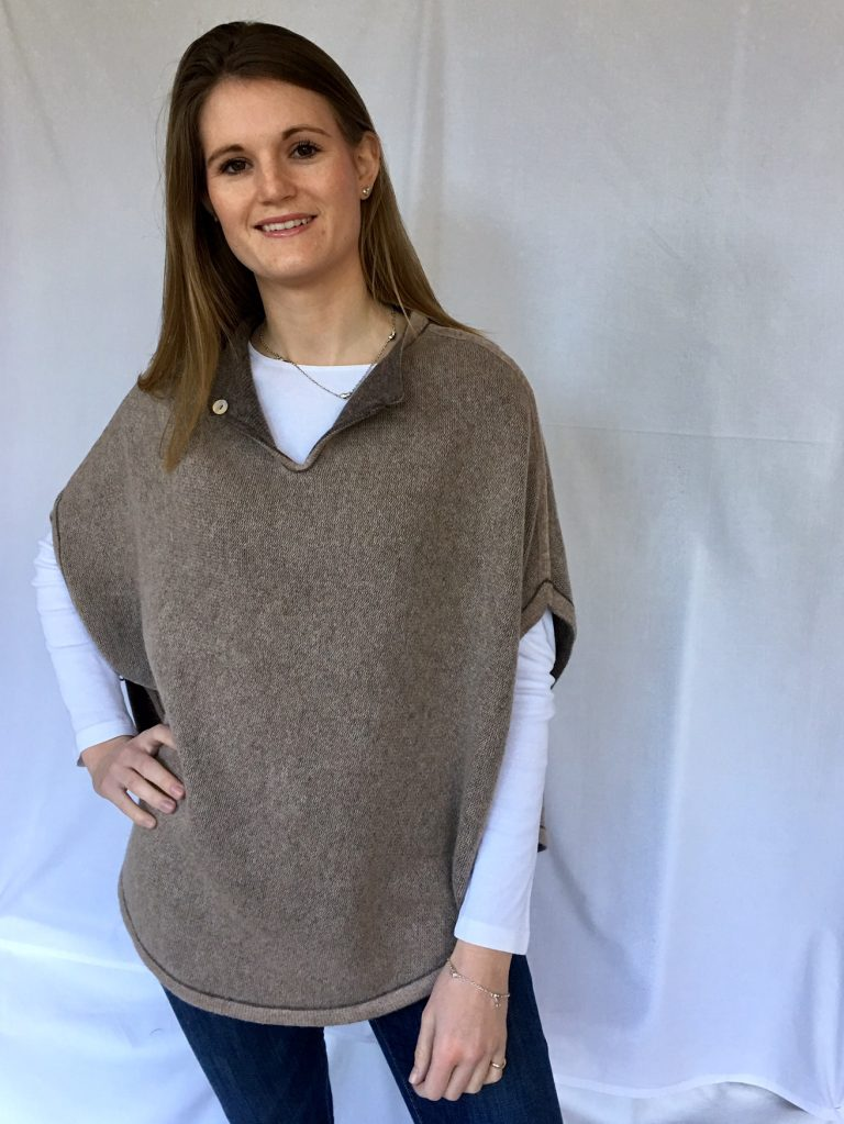 reversible cashmere poncho