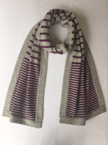 stripy scarf plum