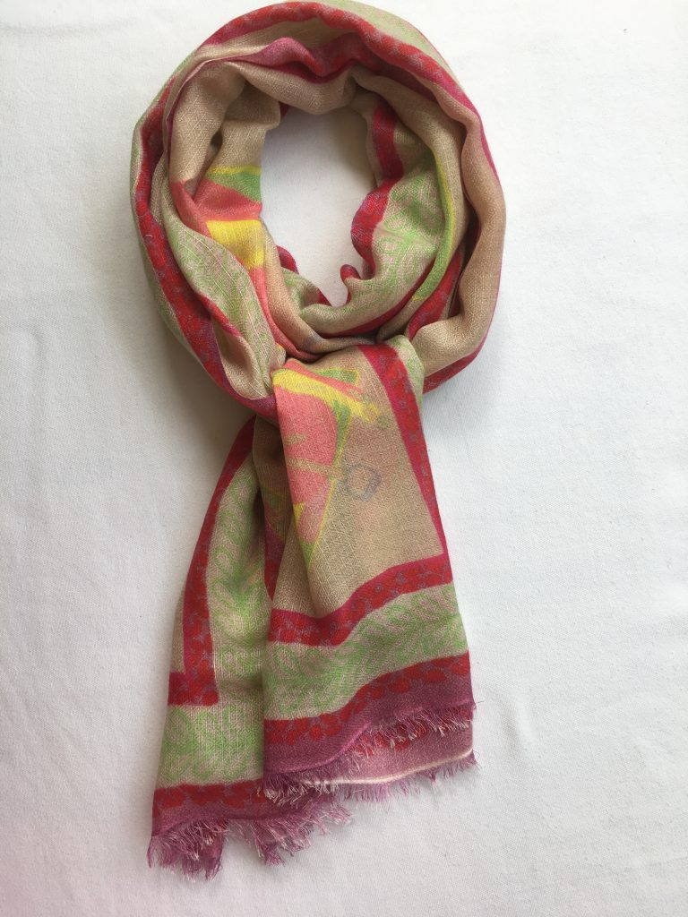 47e38b4ab Cashmere & Silk Saddle Design Scarf – sand, apricot, peach, green, yellow,  pink, red