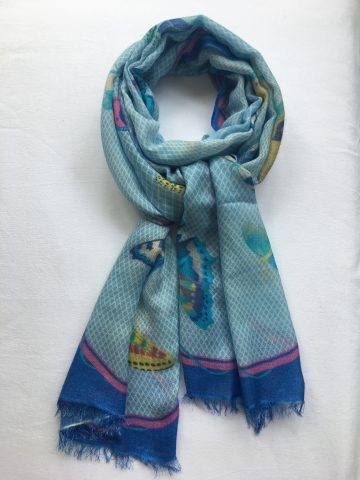Cashmere Scarf Butterfly Design - blues, pink, yellow (2)