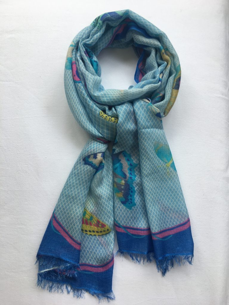 15aeeb5ba Cashmere & Silk Butterfly Design Scarf - blues, pink, yellow ...