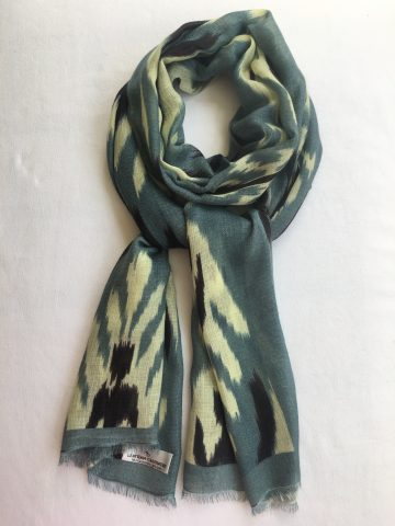 Cashmere Scarf Ikat Print - grey, black, natural