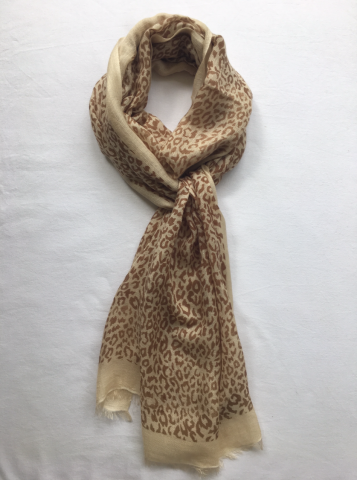 Cashmere Scarf Leopard Print with Border - antelope, beige