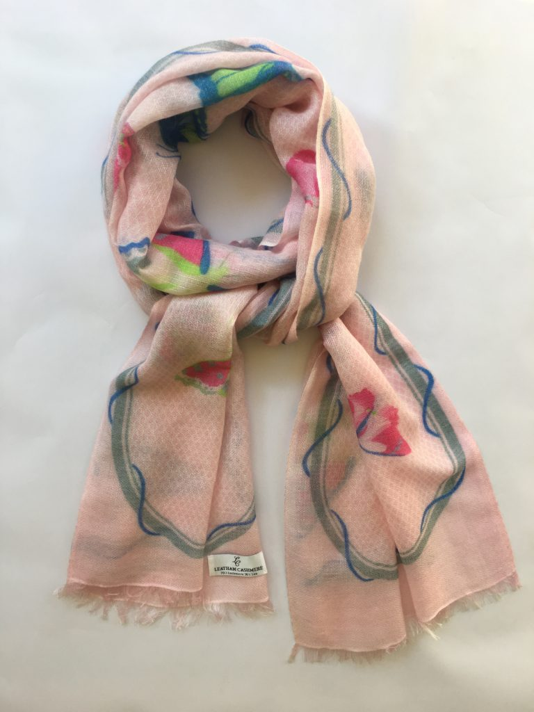 b35fd9aa8 Cashmere & Silk Butterfly Design Scarf - pinks, blues, green, grey ...