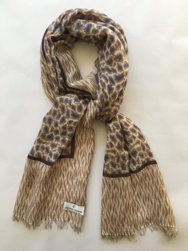 e515ec951 Cashmere & Silk Leopard Print Scarf with Squiggles – taupe, ink, antelope