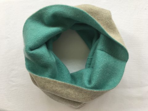 Reversibe Cashmere Snood teal and light sand