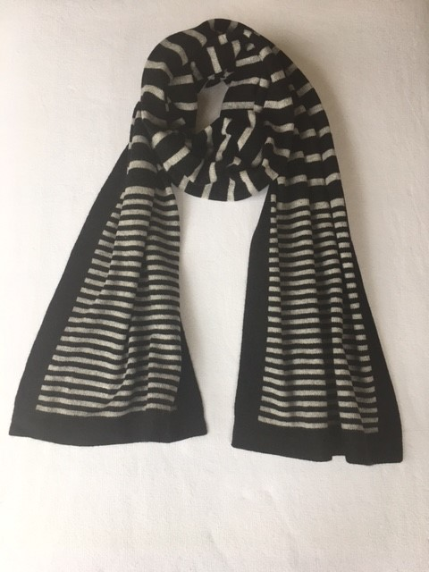 stripy scarf grey
